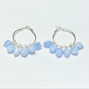 Chunky Baby Blue Chalcedony Nugget Earrings